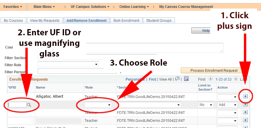 My.ufl.edu interface for adding people to a Canvas course.
