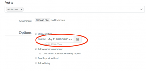 Canvas Announcement text fields showing date and time