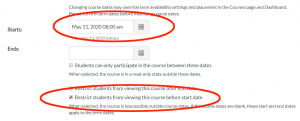 The Canvas settings menu showing the publish date and time