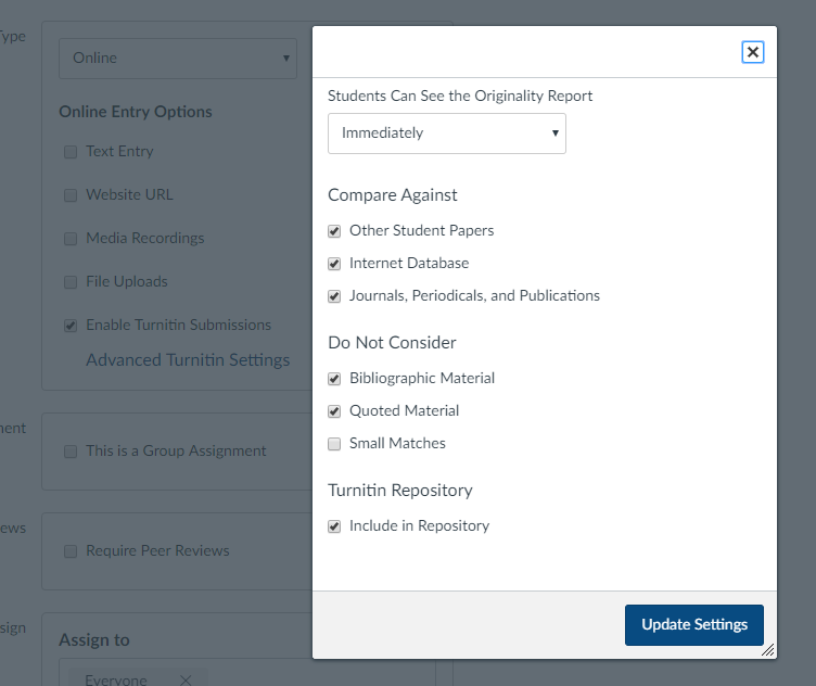 The Canvas Turnitin menu lists additional settings.