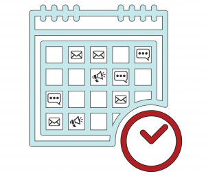 Calendar icon next to a clock with planned announcements and emails on specific days of the month