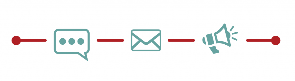 message, email and announcement icons