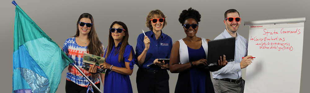 Teaching Excellence staff are smiling and wearing sunglasses