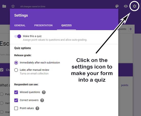 Google form settings screen