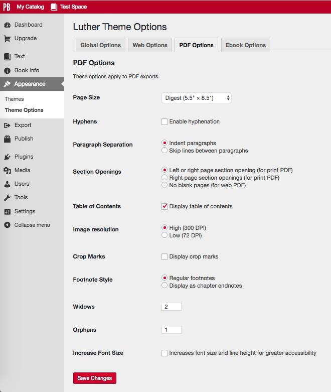 Theme options PDF