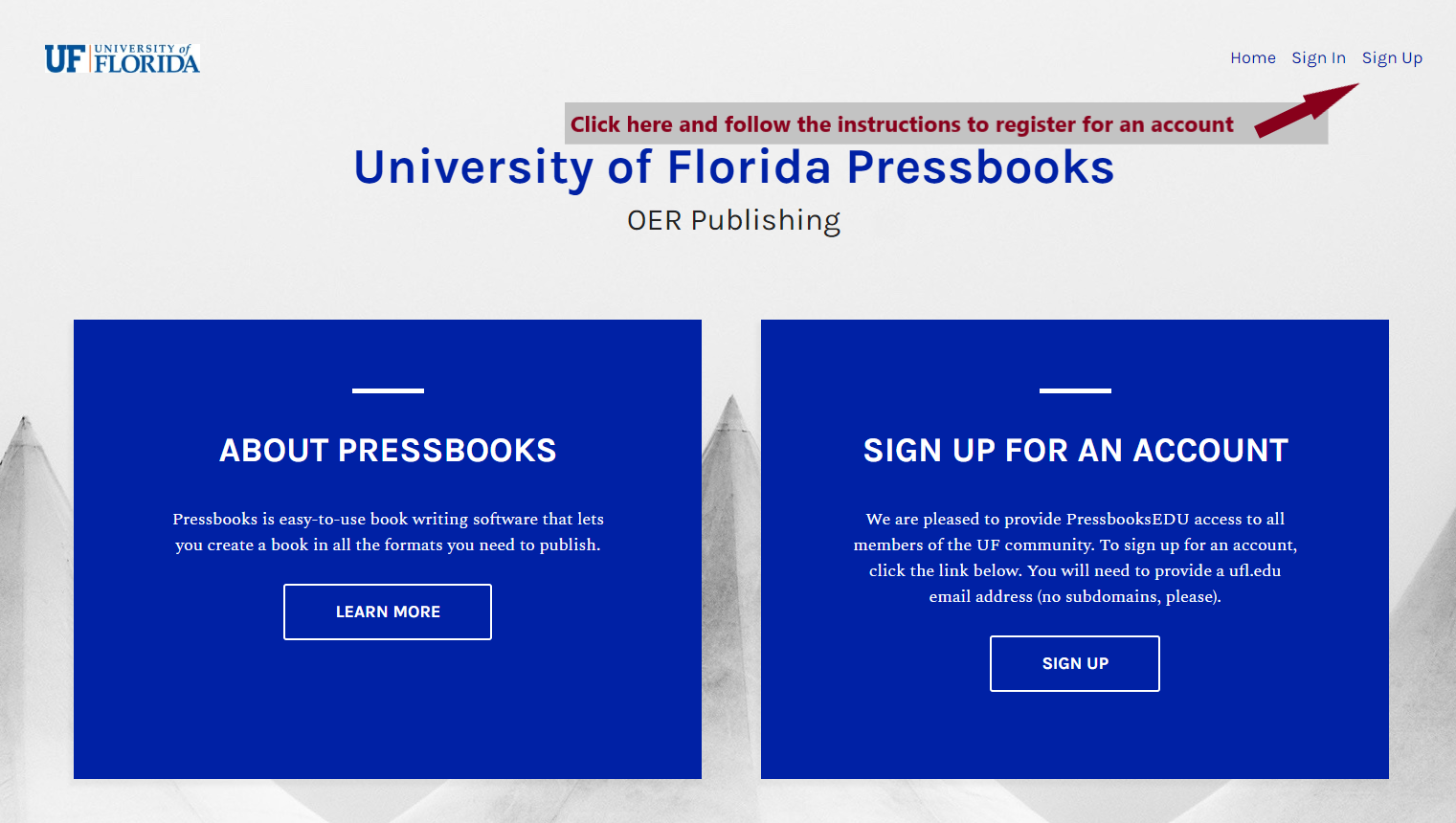 Pressbooks Homepage with arrow pointing to login button