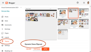 Blogger interface showing the Dynamic Views Flipcard